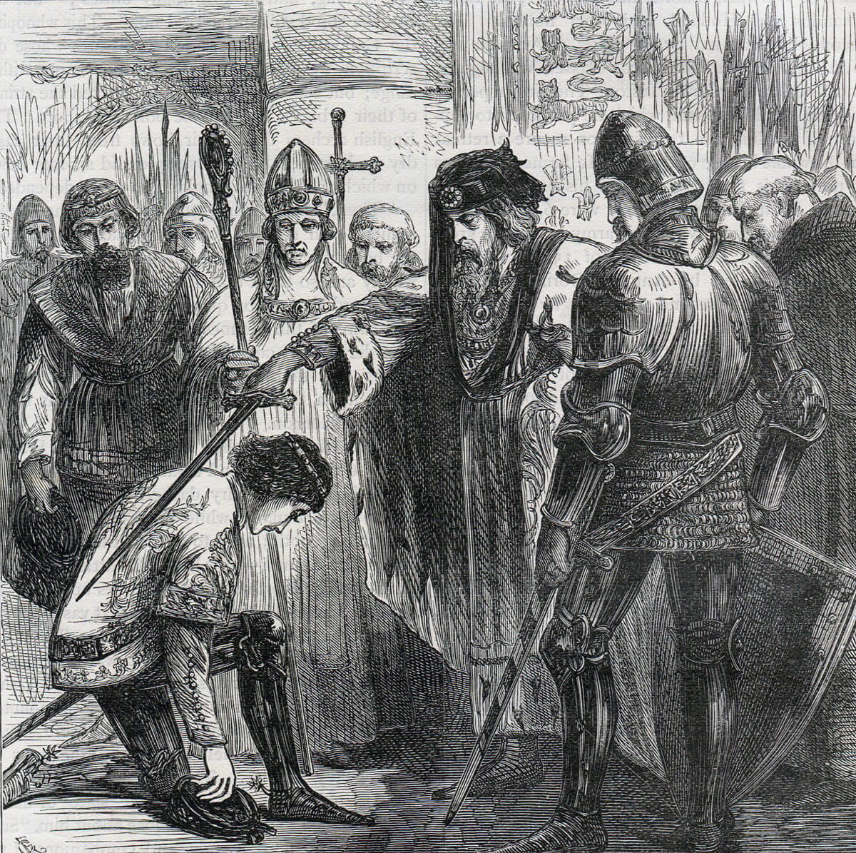 King Edward III knighting the Black Prince after the Battle of Creçy on 26th August 1346 in the Hundred Years War