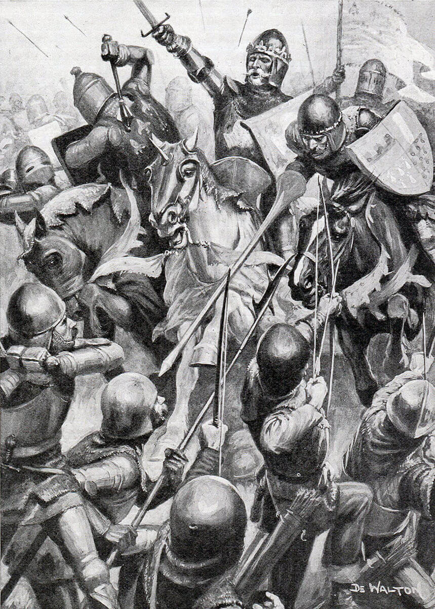 Blind King John of Bohemia at the Battle of Creçy on 26th August 1346 in the Hundred Years War: print by DE Walton