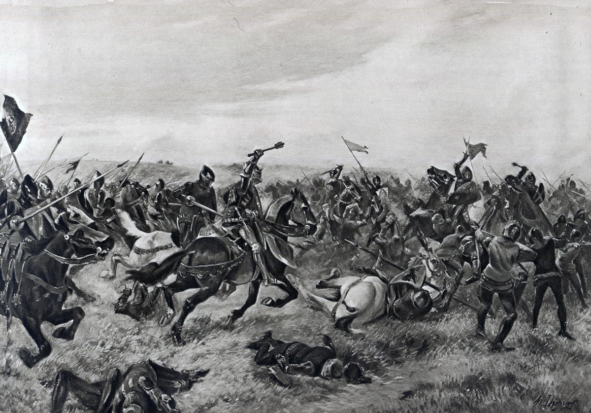 Battle of Agincourt on 25th October 1415 in the Hundred Years War: picture by Henri Duplay
