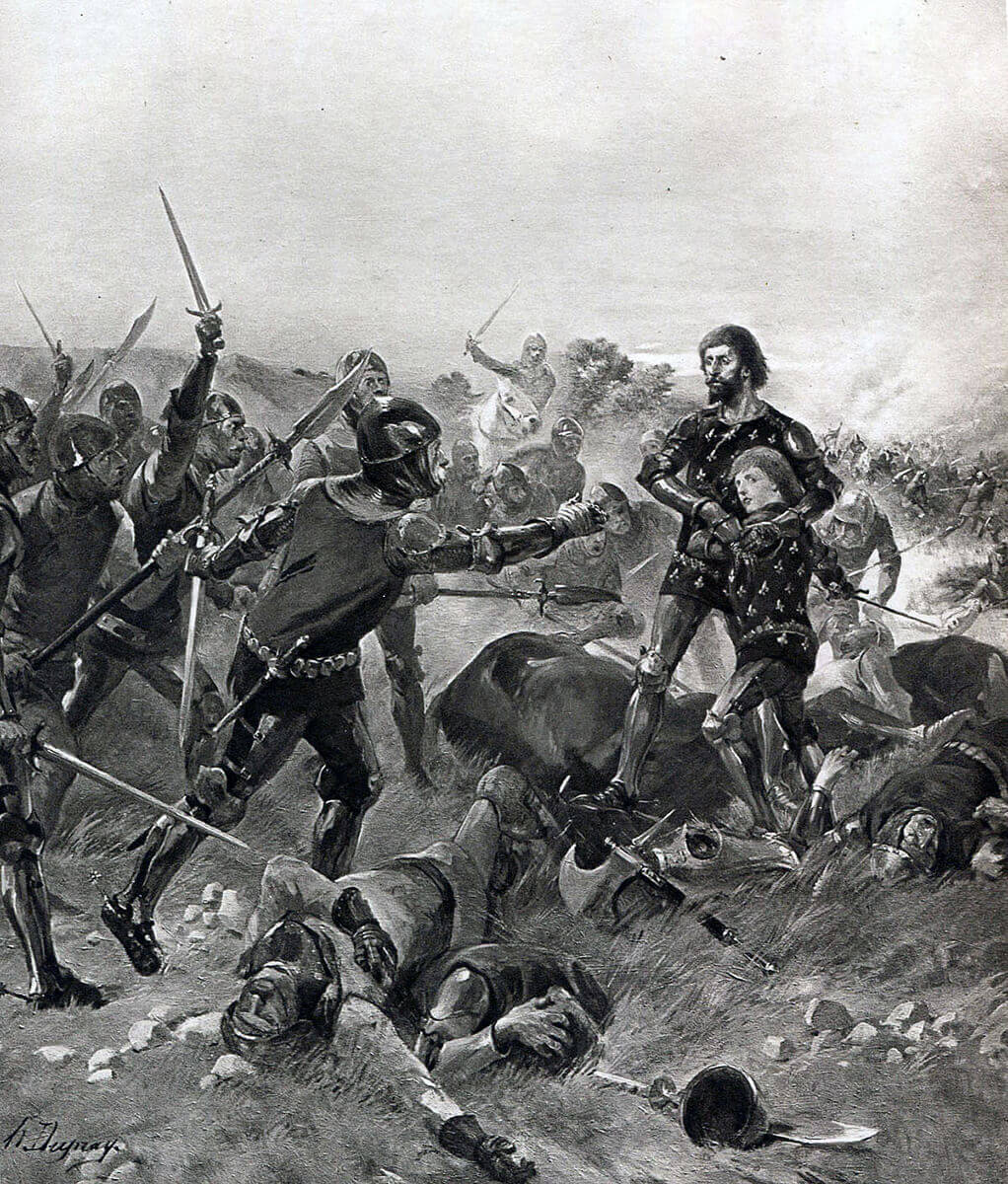 Capture of King John of France and his 14 year old son at the Battle of Poitiers on 19th September 1356 in the Hundred Years: picture by Henri Dupray
