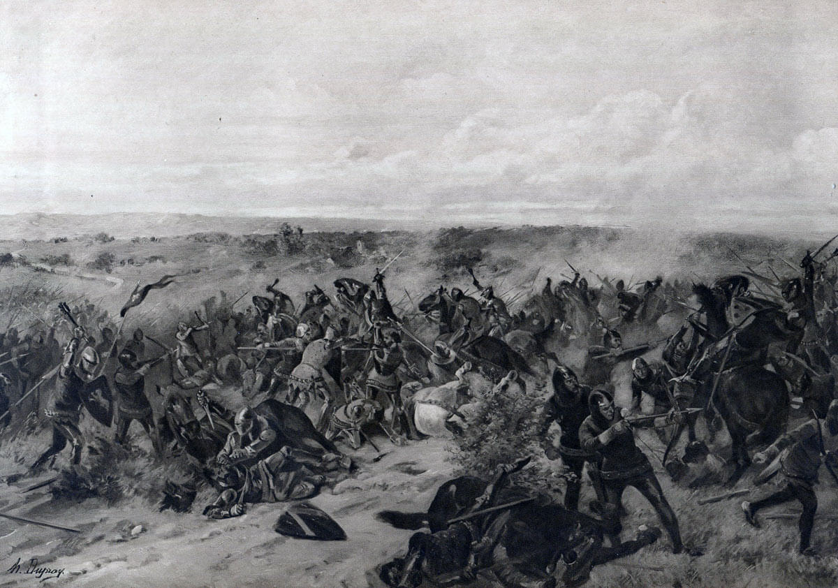 Battle of Creçy on 26th August 1346 in the Hundred Years War: picture by Henri Dupray