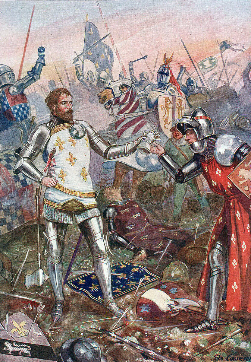 King John of France surrendering himself to the English at the Battle of Poitiers on 19th September 1356 in the Hundred Years War