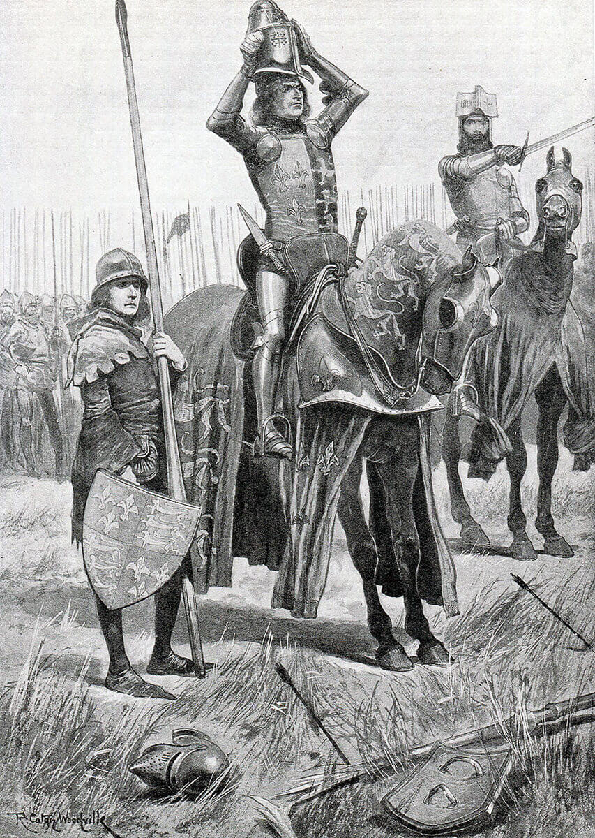 Sir John Chandos urges the Black Prince to attack saying 'Sire the Day is yours' at the Battle of Poitiers on 19th September 1356 in the Hundred Years: picture by R. Caton Woodville