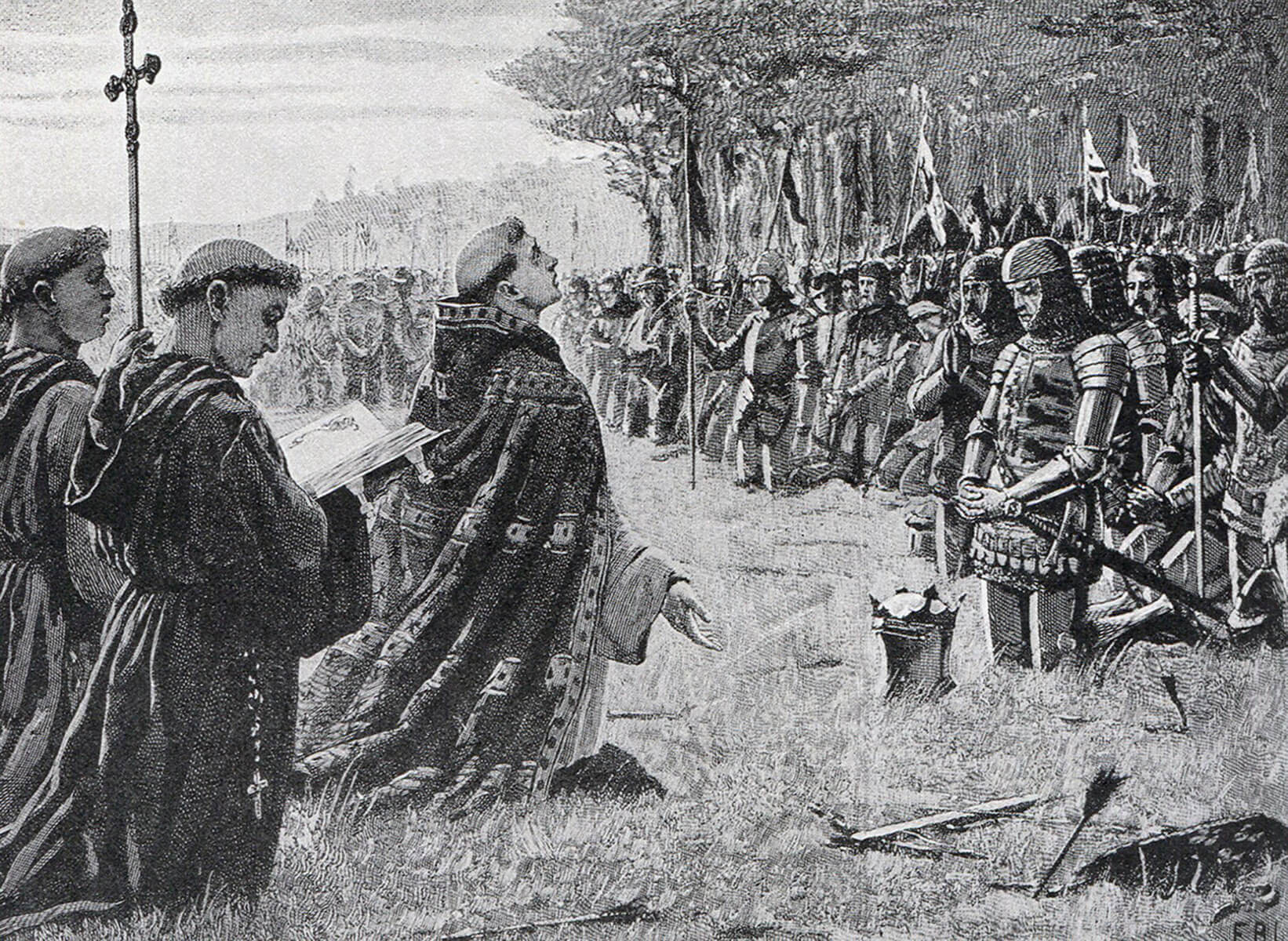 King Henry V gives thanks for his victory after the Battle of Agincourt on 25th October 1415 in the Hundred Years War