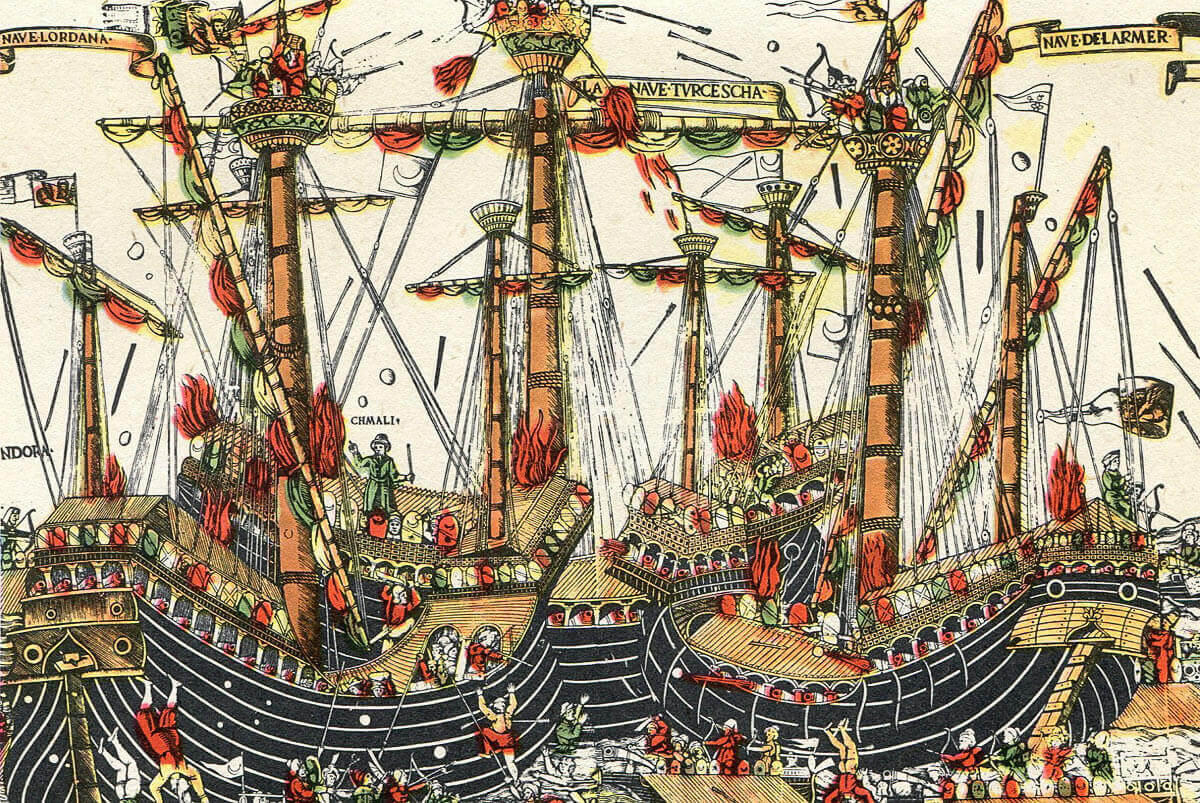 Sea Battle at the time of the Battle of Sluys on 24th June 1340 in the Hundred Years War