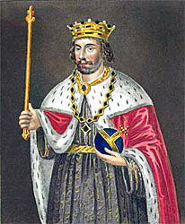 Edward II, King of England vanquished at the Battle of Bannockburn 23rd and 24th June 1314