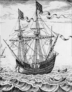 Merchant vessel commandeered for the Armada: print by Peter Brueghel: Spanish Armada June to September 1588