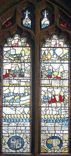 Window in the parish church of St Leonard's Middleton commemorating the 17 archers led by Sir Robert Ashton at the Battle of Flodden 9th September 1513