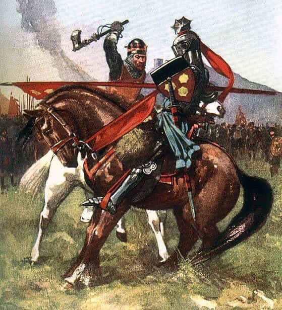 Robert de Bruce strikes and kills Sir Henry de Bohun with his axe in single combat before the Battle of Bannockburn on 23rd June 1314: picture by John Hassall