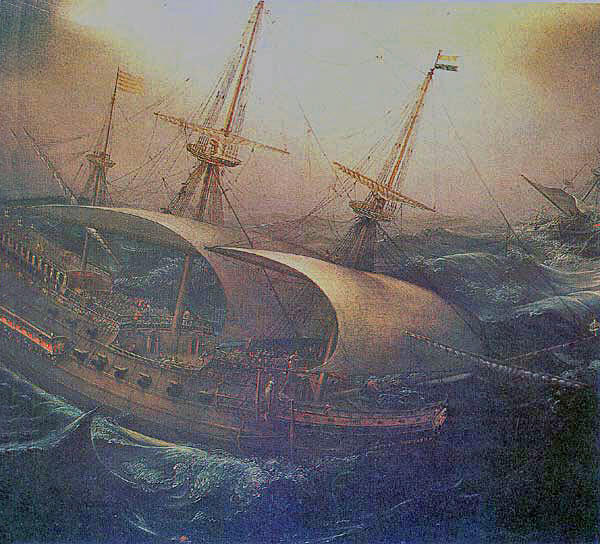 Armada ships in deep trouble in storms off the coast of Ireland: Spanish Armada June to September 1588
