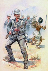 Royal Marine Light Infantry at the Battle of Tamai on 13th March 1884 in the Sudanese War: picture by Charles Stadden