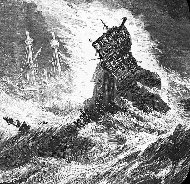 Spanish ships sinking in a storm off the coast of Ireland : Spanish Armada June to September 1588