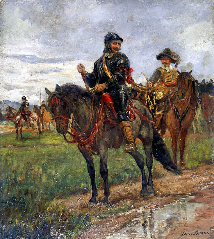 Sir Arthur Heselrige's 'Lobsters', a key regiment in Sir William Waller's Parliamentary army at the Battle of Cheriton on 29th March 1644; cuirassiers at the time of the English Civil War: picture by Louis Braun