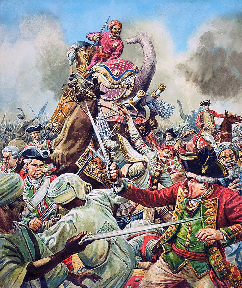 Siege of Arcot 31st August to 15th November 1751 in the War in India: picture by Cecil Doughty