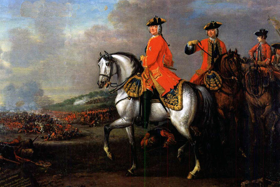 King George II with the Duke of Cumberland at the Battle of Dettingen on 16th June 1743 in the War of the Austrian Succession: picture by John Wootton