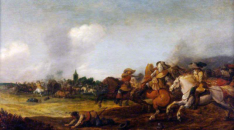 Scene of battle: Battle of Wakefield 20th May 1643 in the English Civil War: picture by Palamedes Palamedesz