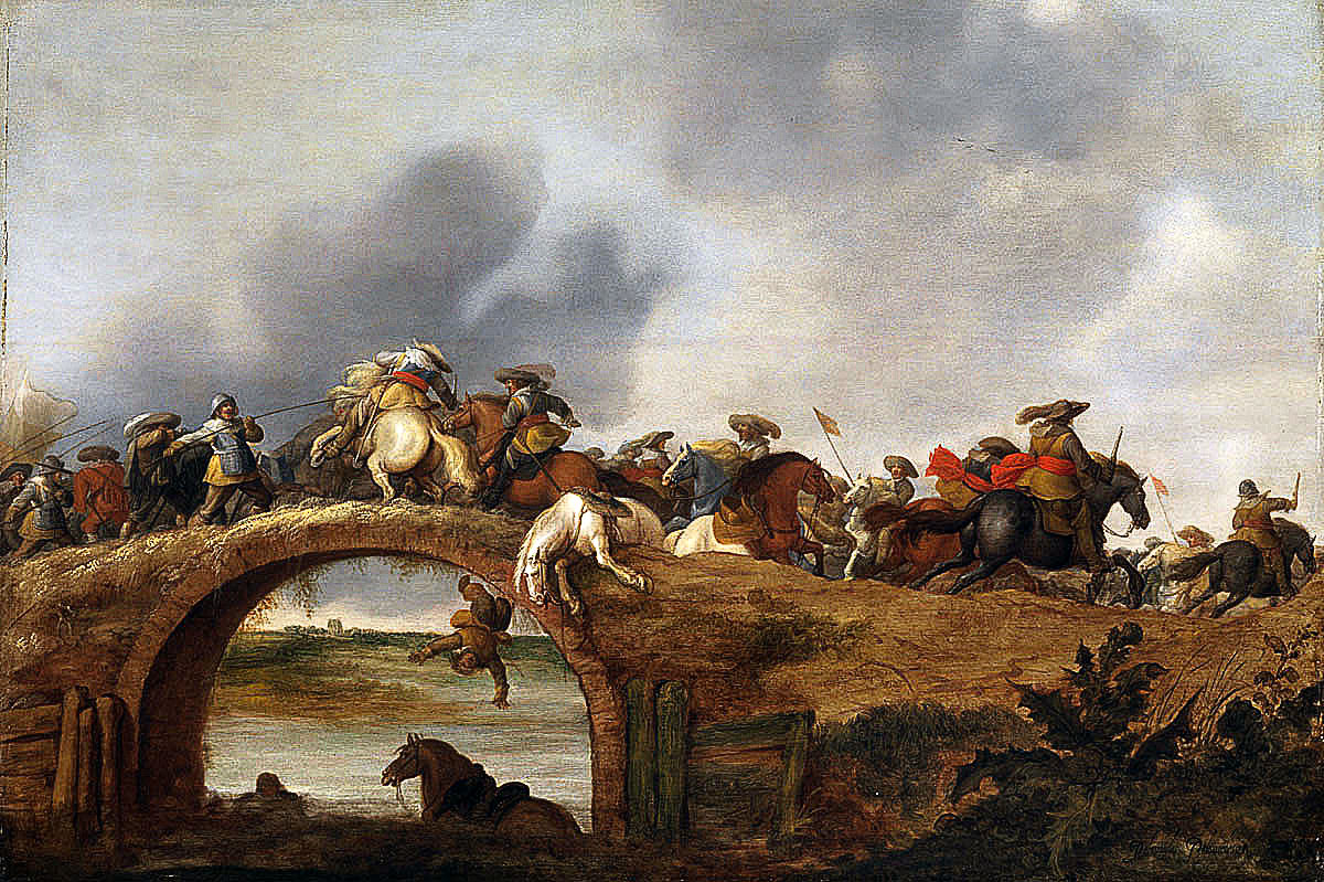 Horse attacking a bridge: Battle of Cropredy Bridge on 29th June 1644 in the English Civil War: picture by Palamedes Palamedesz