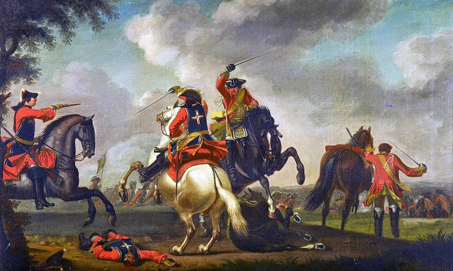 British and French cavalry in combat at the Battle of Warburg on 31st July 1760 during the Seven Years War