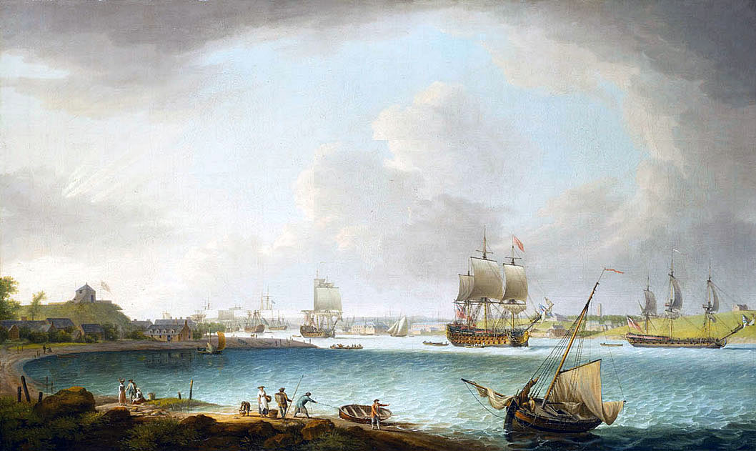 British naval squadron in the 1760s: Capture of Manilla 6th October 1762 in the Seven Years War: picture by Dominic Serres