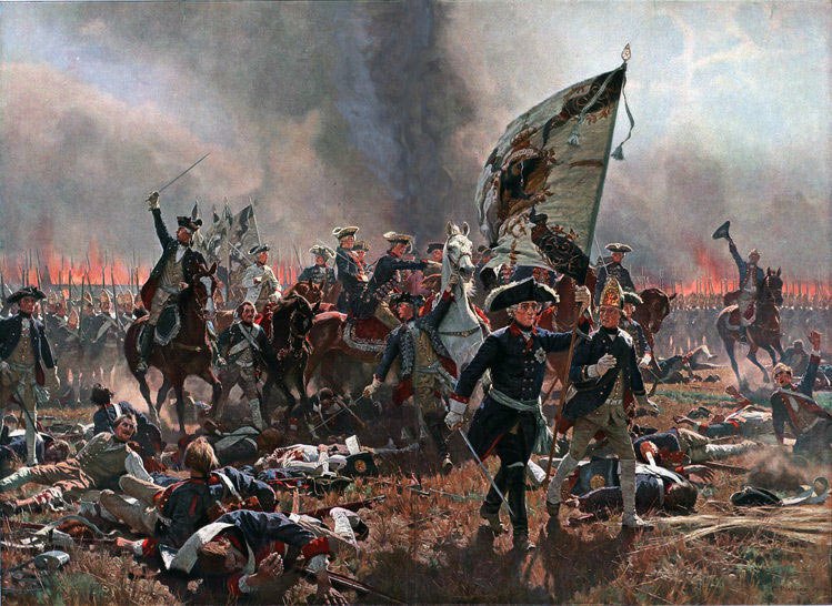 Frederick the Great at the Battle of Zorndorf on 25th August 1758 in the Seven Years War, leading the infantry of General Dohna's right wing to the attack: picture by Carl Rohling