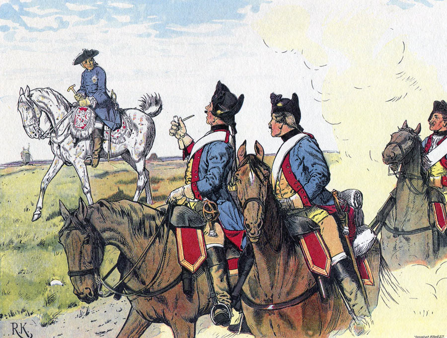 Frederick the Great greeted by Prussian Dragoons on the march: Battle of Liegnitz 15th August 1760 in the Seven Years War: picture by Richard Knötel