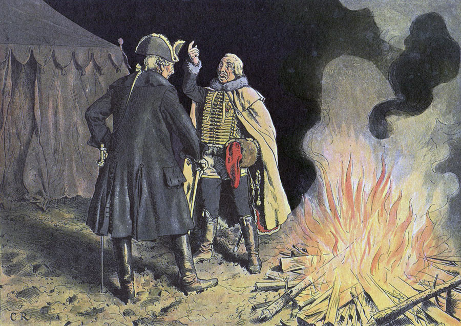 Frederick the Great talks to General Zieten in the Camp at Bunzelwitz before the Battle of Burkersdorf on 21st July 1762 in the Seven Years War: picture by Richard Knötel