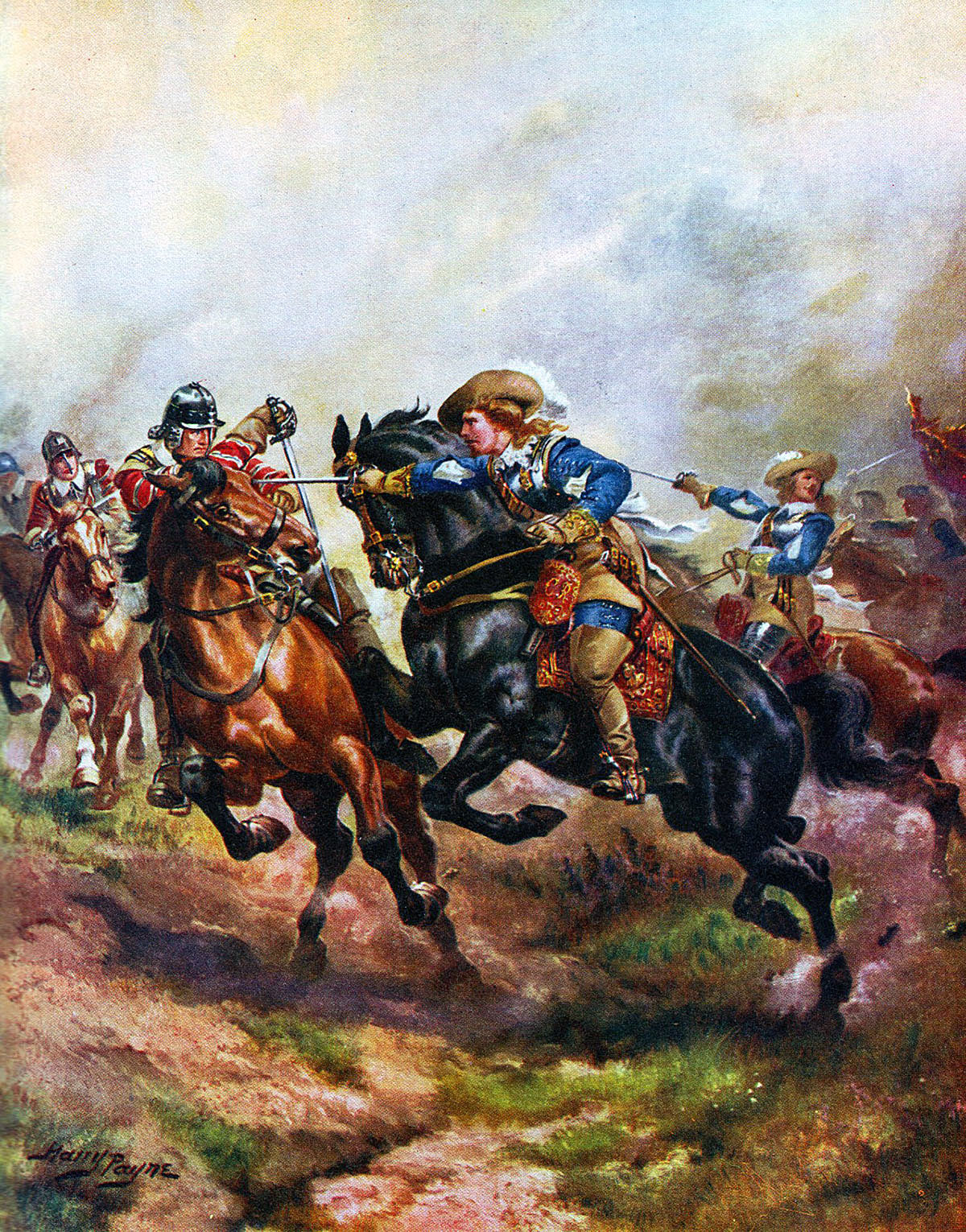 Royalist cavalry attacking at the Battle of Edgehill on 23rd October 1642 in the English Civil War: picture by Harry Payne