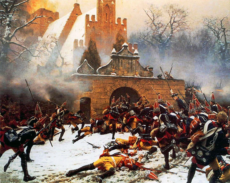 Prussian Grenadiers storming the church at the Battle of Leuthen on 5th December 1757 in the Seven Years War