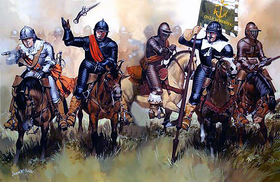 Parliamentary Cuirassiers at the Battle of Lansdown Hill on 5th July 1643 during the English Civil War
