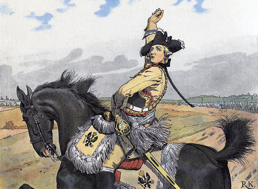 Major General von Seydlitz throws his pipe in the air as he leads his Prussian cavalry to the attack at the Battle of Rossbach on 5th November 1757 in the Seven Years War: picture by Richard Knötel