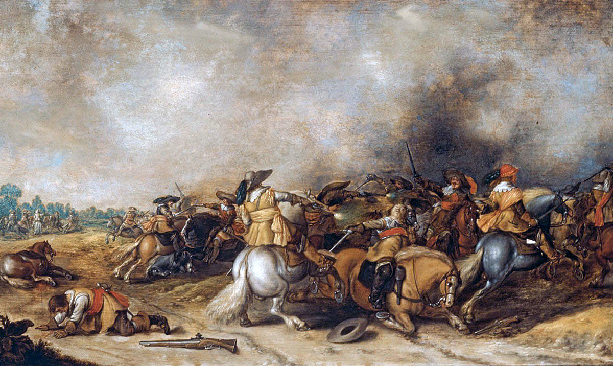 Cavalry Action at the time of the English Civil War: Battle of Cropredy Bridge on 29th June 1644 in the English Civil War: picture by Palamedes Palamedesz