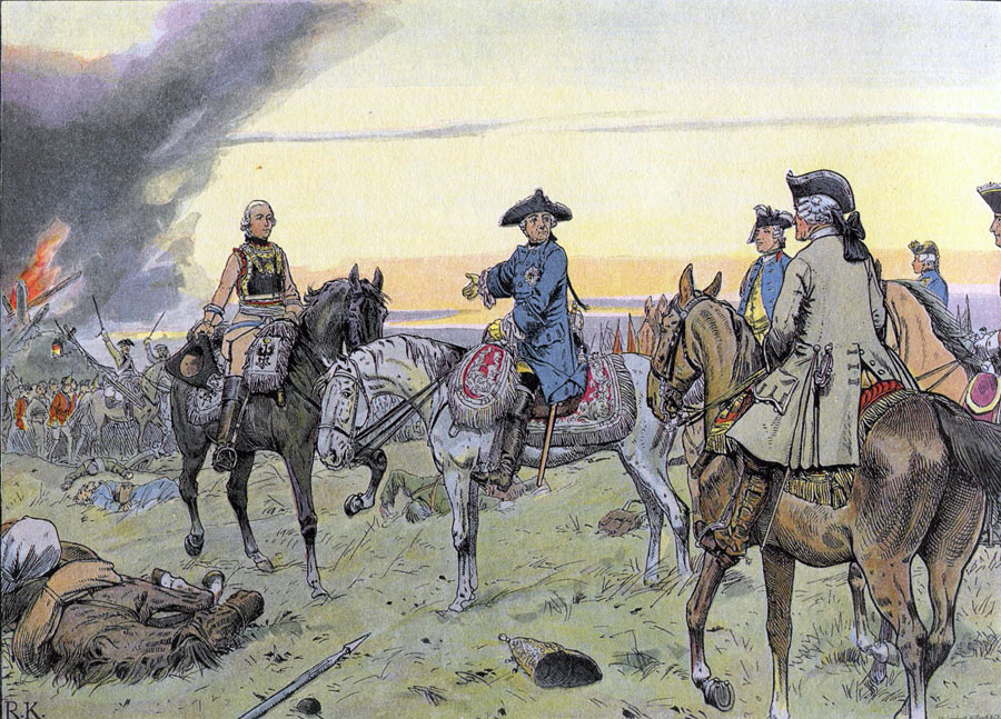 Frederick the Great compliments General von Seydlitz on his conduct during the Battle of Zorndorf 25th August 1758 in the Seven Years War: picture by Carl Röhling