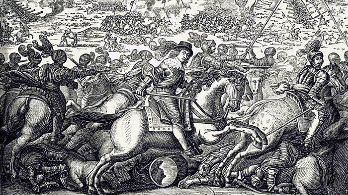 Cuirassiers in battle at the time of the English Civil War: Battle of Cheriton 29th March 1644