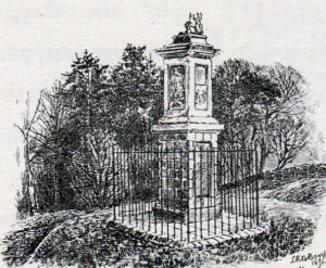 Grenville Memorial: Battle of Lansdown Hill on 5th July 1643 during the English Civil War: drawing by C.R.B. Barrett