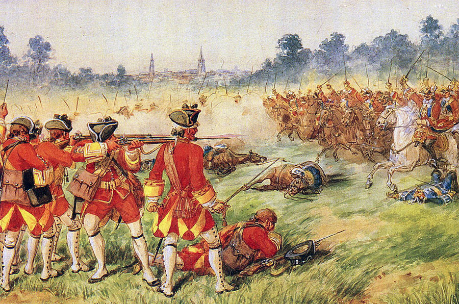 25th Foot at the Battle of Minden 1st August 1759 in the Seven Years War: picture by Richard Simkin
