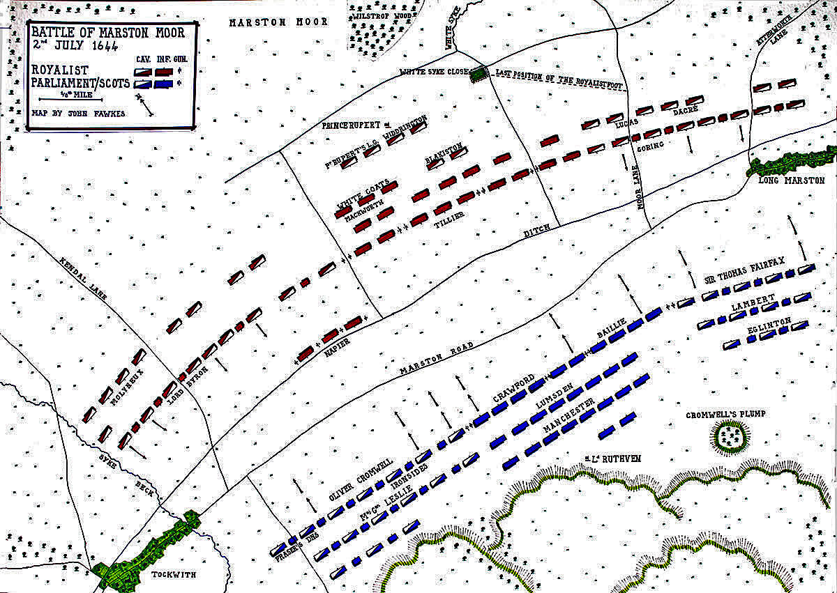 Map of the Battle of Marston Moor 2nd July 1644 in the English Civil War: map by John Fawkes