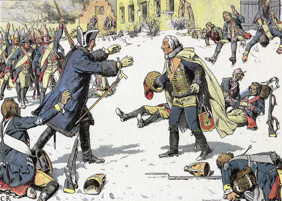 Frederick the Great greets General Zieten after the Battle of Torgau 3rd November 1760 in the Seven Years War: picture by Carl Röhling