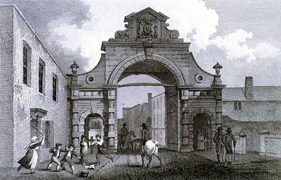 Temple Gate, attacked by the Cornish Army of Prince Maurice during the Storming of Bristol on 26th July 1643 in the English Civil War