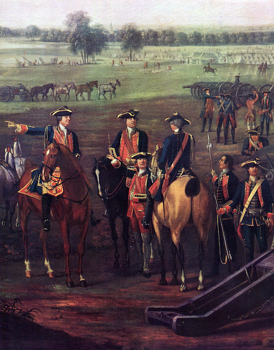 Officers of the Royal Artillery: Battle of Minden 1st August 1759 in the Seven Years War: picture by David Morier
