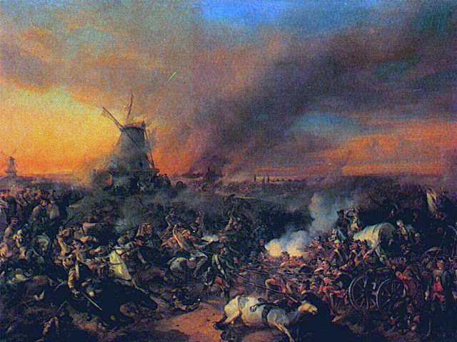 Smoke and slaughter in the Battle of Zorndorf 25th August 1758 in the Seven Years War: picture by an unknown artist