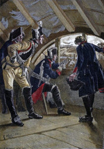 King Frederick II of Prussia watches the advancing enemy from the attic of the inn in Rossbach at the Battle of Rossbach 5th November 1757 in the Seven Years War