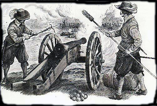 Guns in action at the time of the English Civil War: First Battle of Newbury on 20th September 1643 during the English Civil War