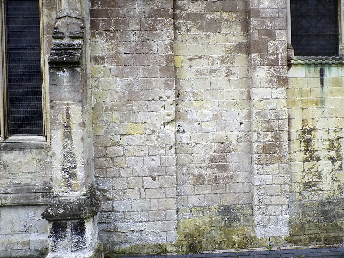 Cannon ball strikes on St John's Church Devizes during the siege: Battle of Roundway Down 13th July 1643 during the English Civil War