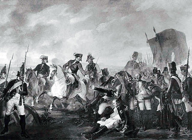 Death of Field Marshal James Keith at the Battle of Hochkirch 14th October 1758 in the Seven Years War