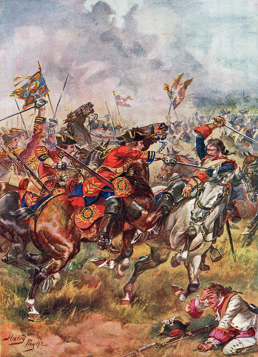 Bland's King's Own Royal Dragoons: Battle of Dettingen fought on 16th June 1743 in the War of the Austrian Succession: picture by Harry Payne