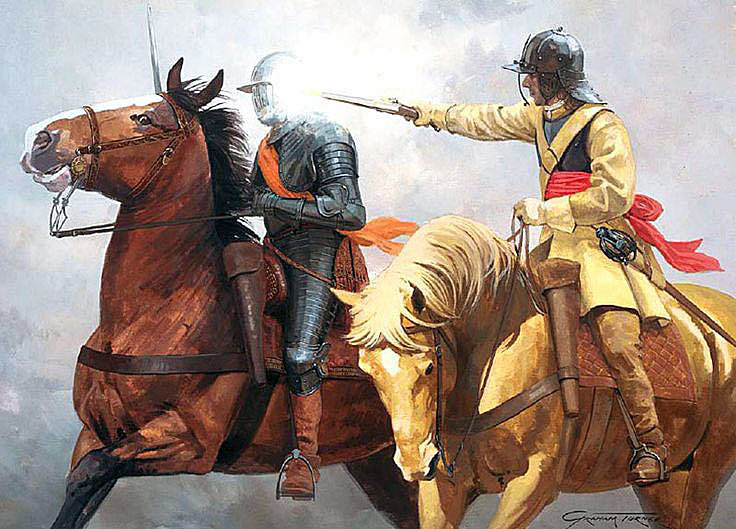 Captain Richard Atkyns attacking Sir Arthur Hesilrige during the rout of the Parliamentary horse after the Battle of Roundway Down on 13th July 1643 during the English Civil War