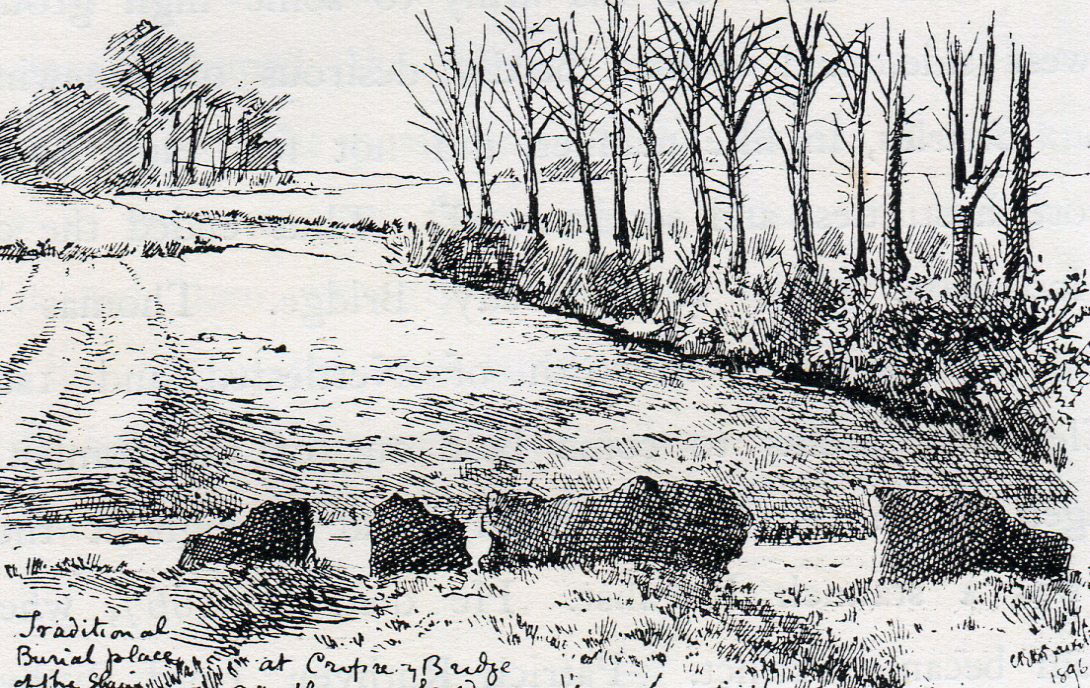 Burial ground after the battle: Battle of Cropredy Bridge on 29th June 1644 in the English Civil War: drawing by C.R.B. Barrett