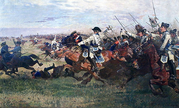 Charge of the Prussian cuirassiers led by Major General von Seydlitz at the Battle of Rossbach 5th November 1757 in the Seven Years War