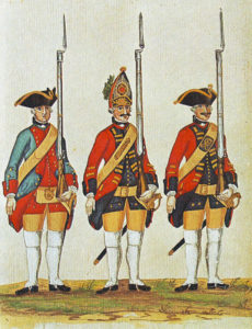 Hanoverian Artillery and Grenadier and 'hat company man' of Foot Guards: Battle of Minden 1st August 1759 in the Seven Years War: picture by Karsten