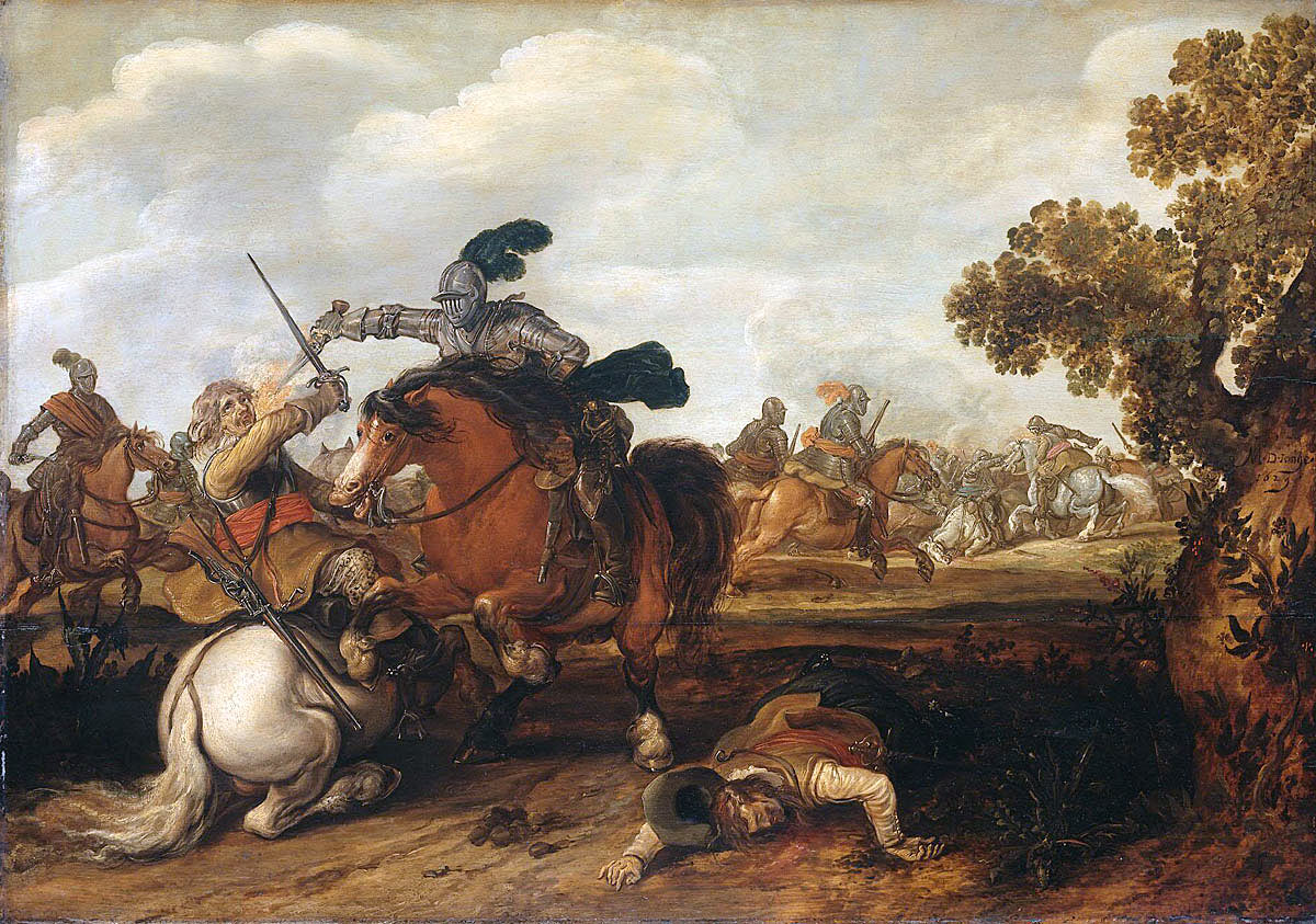 Cuirassier overwhelming an unarmoured trooper: Battle of Cheriton on 29th March 1644 in the English Civil War: picture by Meulen